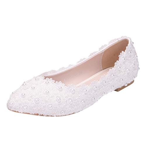 Buy Bargain Women's Flats Shoes for Wedding White Lace Pearl Pointed Toe Ballet Shoes Slip-on Comfor...
