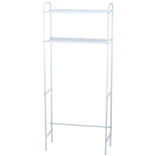 Home Basics 2 Tier Over The Toilet Bathroom Space Saver, Metal Bathroom Shelf Storage Unit, Anti-rust, White