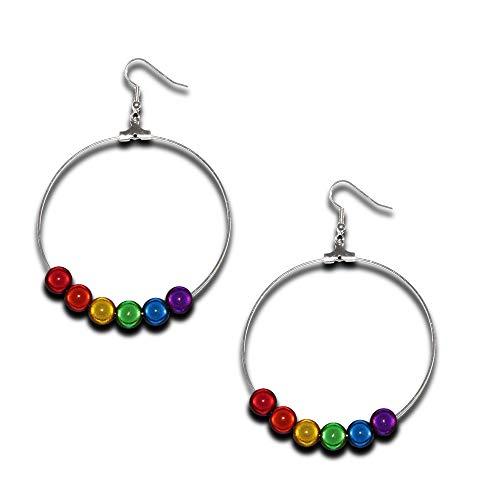 Gilbert Baker Rainbow Pride - Pendientes de aro holográficos