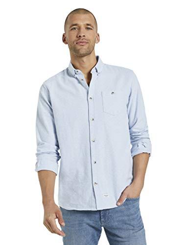 TOM TAILOR Herren Blusen, Shirts & Hemden Fein gemustertes Hemd Light Blue Scattered Design,M,25323,6000