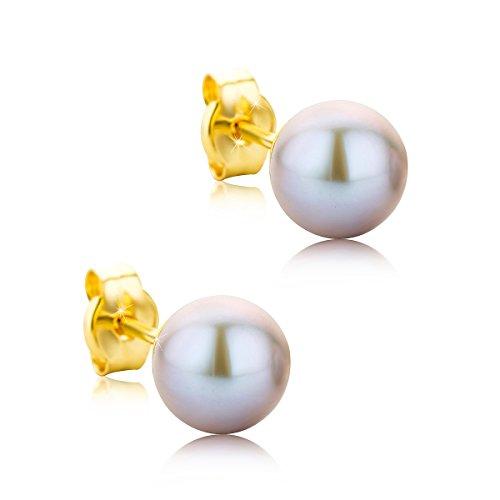 Orovi pendientes de mujer presión Perlas grises 6-6.5 de aguadulce en oro...