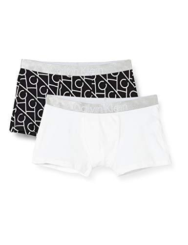 Calvin Klein 2pk Trunks Pantaloncini da Bagno, Nero (1LogolinesCKBlack/1White 0MJ), 8-9 Anni (Taglia Produttore: 8-10) Bambino