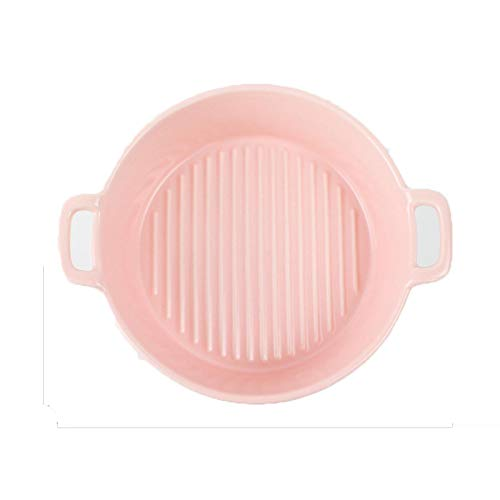 Utensilios para hornear de cerámica Color sólido Cocina Hogar Binaural Redondo Utensilios para Cocina, Cocina, Pastel Cena y Uso Diario Rosa