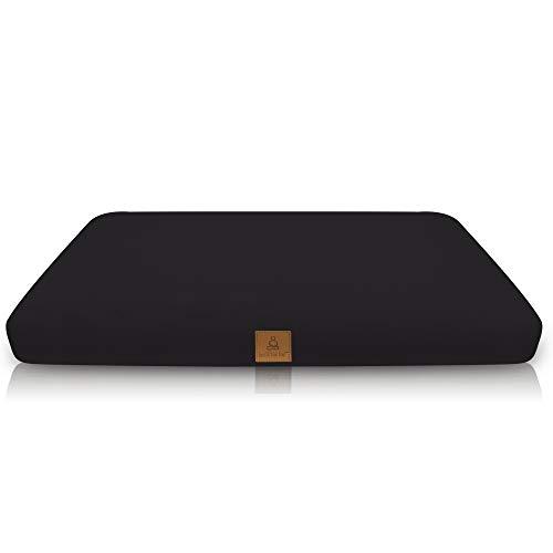 Zabuton Meditation Cushion - USA Buckwheat Hulls in 10 Color Organic Cotton; Square Yoga Pillow Case & Zipper Liner To Adjust Volume; Match Zafu or Crescent Set For Men & Women (Black)