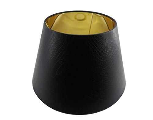 Designer Lampenschirm Kaiman Optik Leder Imitat konische Form (SCHWARZ 15 * 25 * 15cm)