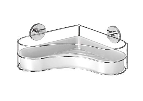 WENKO Vacuum-Loc® Eckablage Milazzo - Befestigen ohne bohren, Stahl, 35 x 11.5 x 24 cm, Chrom