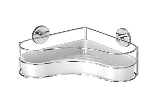 WENKO Vacuum-Loc Eckablage Milazzo, Wandregal ohne bohren, Duschablage mit Vakuum-Befestigung, Regal für Badezimmer und Küche, verchromtes Metall mit Kunststoffeinsatz in Weiß, 35 x 11,5 x 24 cm