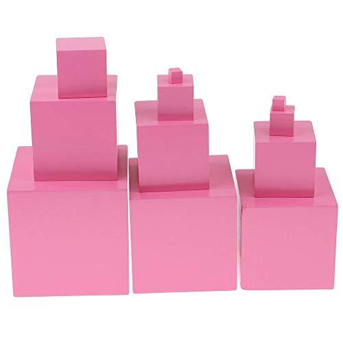 Backbayia - Juego de 11 torres de rosa Montessori de madera rosa Montessori - Juguete de aprendizaje