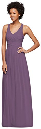 David's Bridal Mesh Long Bridesmaid Dress with Crisscross Back Style W10974, Wisteria, 16