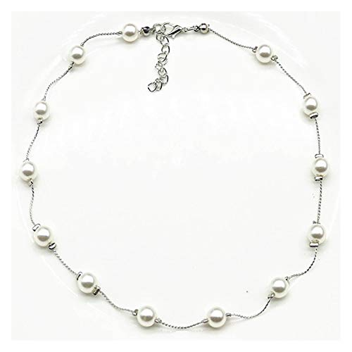 MGMDIAN Gypsophila Pearl Clavicle Lady Necklace Jewelry (40cm) (Color : Silver)
