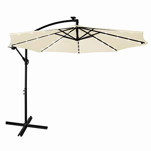 Mondeer Ampelschirm, Sonnenschirm mit Kurbel mit Schutzhülle, 32 LED Solar Lampe UV 50+, 300cm x 245cm für Strand Balkon (Beige)