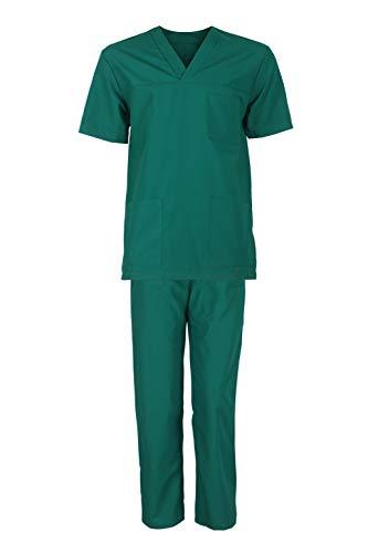 Stenso M3 Unisex-Schrubb-Set Uniform Schlupfkasack Oberteil mit Hose Medizinische Berufsbekleidung Grün Größe EU52