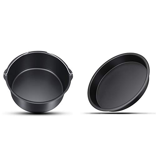 Air Fryer Accessories 7 Inch Cake Barrel Pizza Pan Fit for All 3.2QT - 5.8 QT Standard Deep Fryers Non-stick Backing Black Set of 2