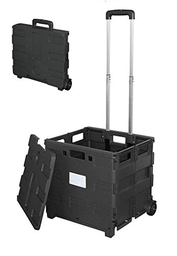 Mount Plus MP-WS-2 Mobile Folding Cart Wheeled Utility Crate with seat Heavy Duty Collapsible Basket with Handle in Black (Large with Lid)