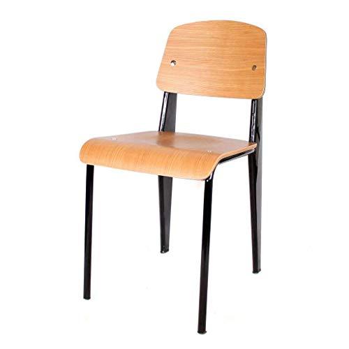ST019 Silla patas metal, asiento y respaldo en madera estilo vintage para salón, comedor, cocina, balcón, terraza interior, hostelería. 1 unidad