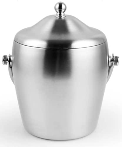 KochFlair Cubitera de 1,2 l, de acero inoxidable, con tapa, enfriador de bebidas, enfriador de cerveza, recipiente para hielo, acero inoxidable aislado, cubitera con tapa y pinzas para hielo