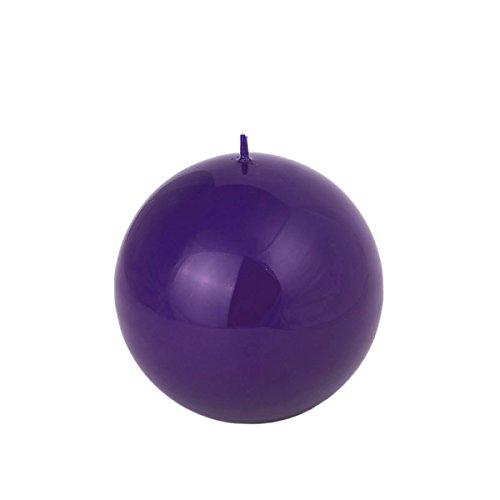Bougie sphérique de couleur violet - 80 mm - Couleur cire - Myrtille laquée