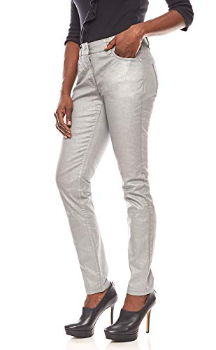 Ashley Brooke metallic Hose Damen Röhrenjeans Jeans Silbergrau, Größenauswahl:40