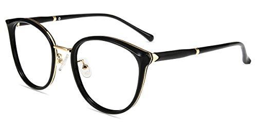Firmoo Gafas Luz Azul para Ordenador Gaming UV Filtro Proteccion Ojos Antifatiga Gafas para Mujer Hombre,Gafas Bloqueo de Luz Azul, S997 Negro Oro