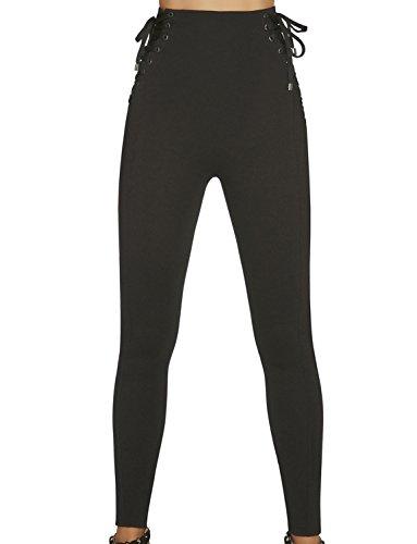 Push-Up leggings, blauw met veters, maat L, Taille M, zwart.