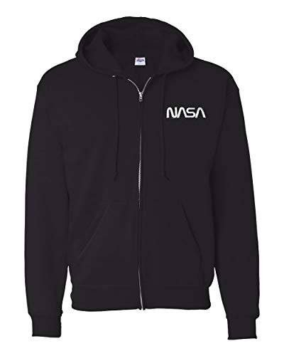 7 Shirts NASA Worm Logo Embroidered Full Zip Hoodie Sweatshirt (Black, XL)