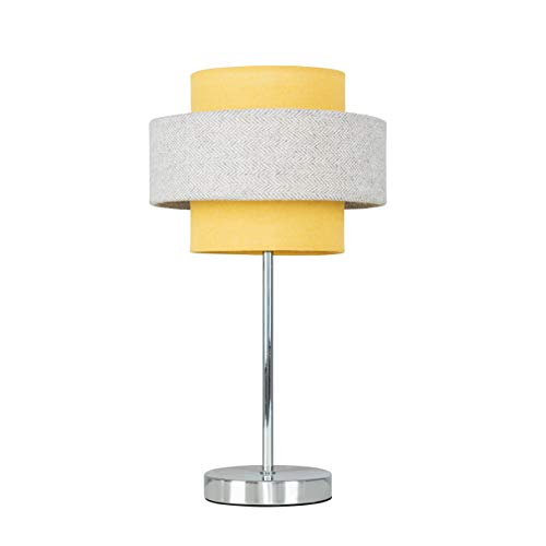 Modern Polished Chrome Touch Table Lamp with a Mustard & Grey Herringbone Shade - Complete with a 5w LED Dimmable Bulb [3000K Warm White]