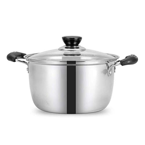 Fantastic Deal! Pot,Stainless Steel Soup Pot Cooking Pot with Glass Lid,Heat Proof Handles, Soup pot stewpan Binaural,Household cooking pot gas cooker universal (Size : 2.4L)