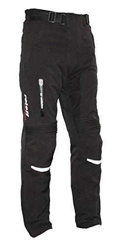 Schwarze Softshell Motorradhose mit herausnehmbarem Thermofutter, Protektoren und Weitenverstellung, für Sommer und Winter, Größe XXL