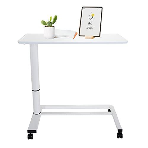 hjh OFFICE 830054 Sitz-Stehtisch höhenverstellbar Stand II Weiß Beistelltisch mit Gasfeder & Rollen, Höhe bis 107 cm