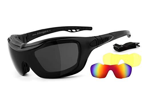 HELLY® - No.1 Bikereyes® | Motorradbrille, Multifunktionsbrille, Bikerbrille | beschlagfrei, winddicht | Wechselgläser: Tag & Nacht (HLT® Sicherheitsglas) | Bügel & Band wechselbar| Brille: bandit 2