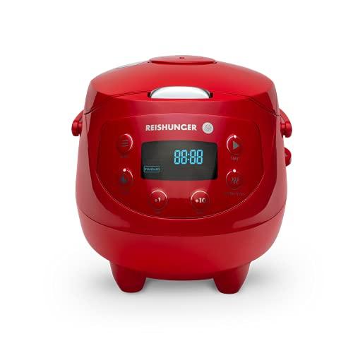 Reishunger Mini Cuociriso Digitale - Vaporiera Rossa Multifunzione Fino a 3 Persone con 8 Programmi, Tecnologia a 7 Fasi, 0.6L, Con Display LED e Funzione di Mantenimento del Caldo