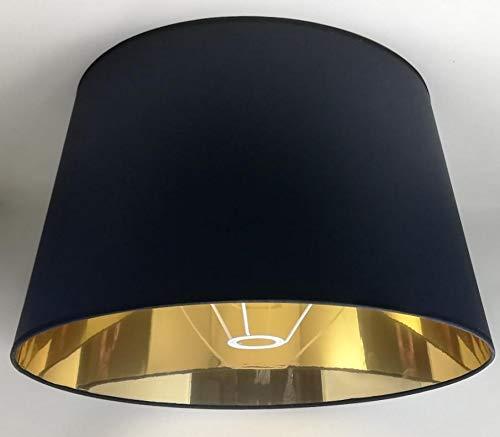 50 cm Schwarzer Lampenschirm, Stoff mit Goldfutter, Handgefertigt, für Tischlampe, Stehlampe