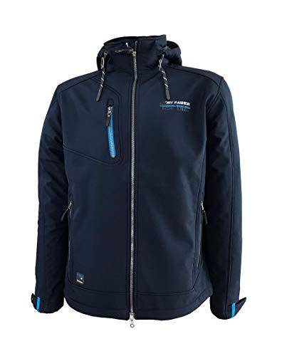 Dry Fashion Herren Softshelljacke Fehmarn Funktionsjacke Windjacke gefüttert Fleece, Farbe:dunkelblau, Größe:6XL