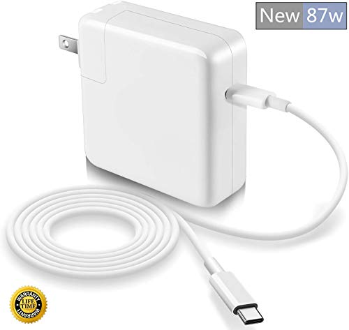 87W MacBook Pro Charger, Replacement USB-C to Type-C Ac Power Adapter Charger Compatible with MacBook Pro 15 Inch 13 Inch MacBook Air 13 Inch 2018