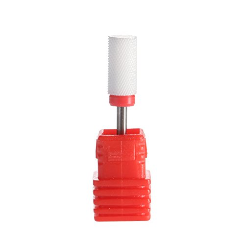 """SpeTool Ceramic Nail Bits Drills Barrel Smooth Round Top 3/32"""" For Nail Art Manicure, Fine Grit, White"""