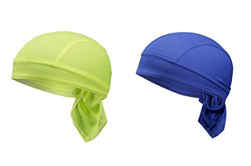 TSHOME 2-Pack Transpirable de la Gorra de Ciclismo de MTB Secado rápido de la Cabeza del Pirata Bicicleta Bandana Bicicleta Bufanda de la Motocicleta Gorra de cráneo bajo Casco Diadema (Green & Blue)