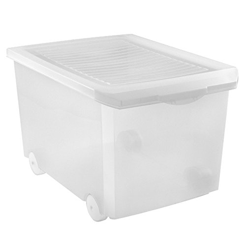 Tatay 1152401 Caja Multiuso con Ruedas Cubierta Suave Transparentes de plástico de 60 L 56,5 x 36,2 x 40 cm