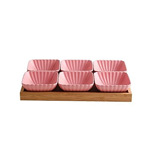 6 Compartimento Dividido Salsa de cerámica Plato de Bowls de inmersión Postre de Fruta Pequeño Plato Aperitivo Platos para Salsa de Soja Vinagre Sushi Kethup BBQ Salses (con Bandeja) (Color : Pink)