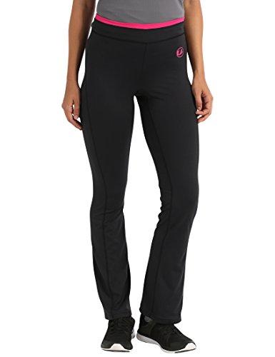 Ultrasport Damen Fitness-Hose antibakteriell, lang, Jogginghose mit Quick-Dry-Funktion, elastische trageangenehme Sporthose, Schwarz/Pink, XL