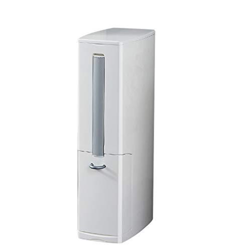 Poubelle- Trash Can en plastique avec toilettes caché Brosse, amovible Seau intérieur, Convient for salle de bains (Color : White)