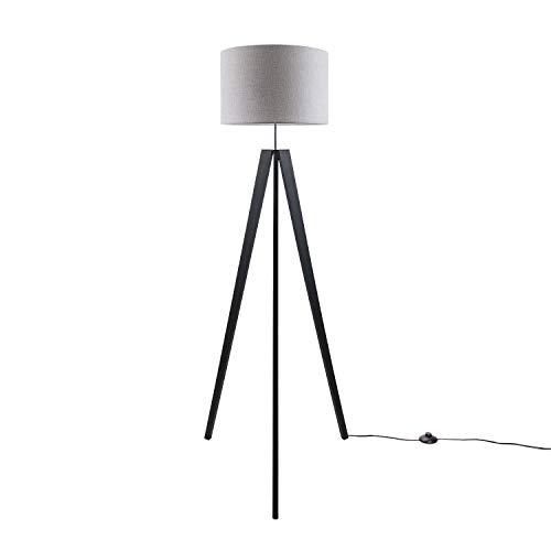 Luminaria De Pie De Mesa Pata Vintage LED Salón Estilo Escandinavo E27, Base de la lámpara:Lámpara de piso negro, Pantalla de lámpara:Gris (Ø45.5 cm)