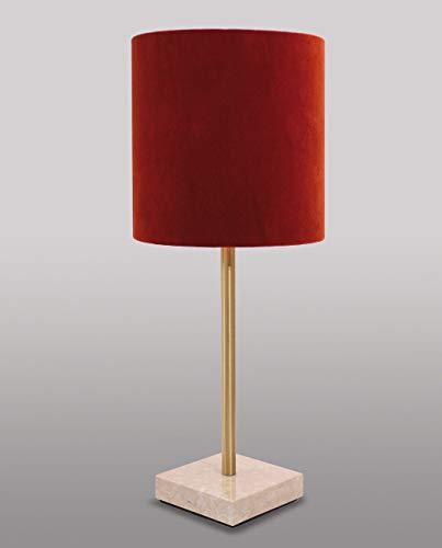 Handgefertigte Tischlampe Messing massiv Marmorfuß in Rot Premium Design Tischleuchte Wohnzimmer