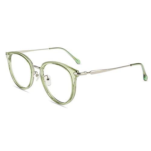 Firmoo Blaulicht Brille Entspiegelt ohne Sehstärke Groß, Runde Blaulichtfilter Computer Brille gegen Kopfschmerzen Augenschutz, Blaufilter UV Schutzbrille für Damen Herren Grün