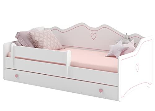 Kleine Prinzessin aufgepasst! ALCUBE Kinderbett Rosa 80x160 KLARA- Mädchen Bett mit Rausfallschutz, Matratze und Schubladen