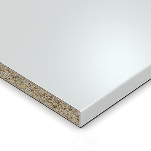 AUPROTEC Einlegeboden Regalboden 19 mm Holz Zuschnitt nach Maß Größe bis max 1000 mm breit x 800 mm tief melaminharzbeschichtet mit Umleimer ABS Kante: Farbe weiß