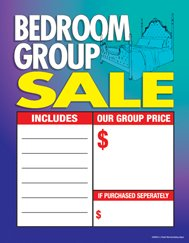 """C80BED Furniture Bed Room Group Sale - Large Price Cards - Sale Tags - 8 1/2"""" x 11"""" (100 Pack) Business Store Signs"""