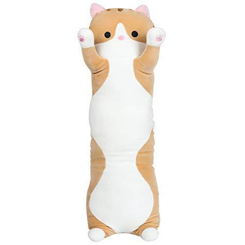 Amiispe Zijslaapkussen, lang kussen, nekkussen, knuffeldieren, pluche kat, pop, zachte pop, speelgoed, cadeau voor kinderen, vriendin