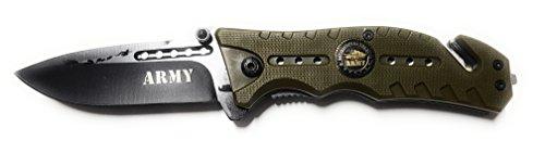 THIRD Halbautomatisches Messer grünes Armeemesser, unterstütztes Öffnungssystem, rostfreie Klinge 8,5 cm. und Nylonbezug.