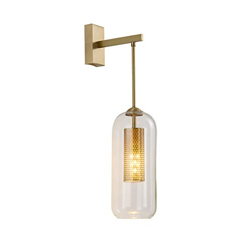 E14 Creativo Metal 1-luces Lampara De Pared,Nórdico Interior Vidrio Pantalla Aplique Pared,Dorado Apliques De Pared Para Dormitorio Salón-Latón 12x54(5x21inch)
