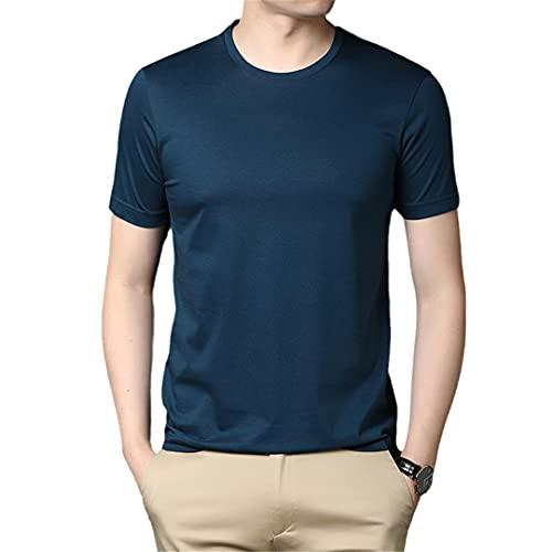 Mercerized algodón verano Tops O cuello camiseta hombres manga corta casual ropa para hombre